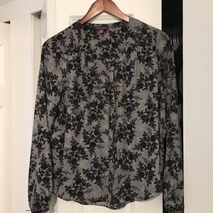 Vince Camuto Black and Gray Floral Blouse XS